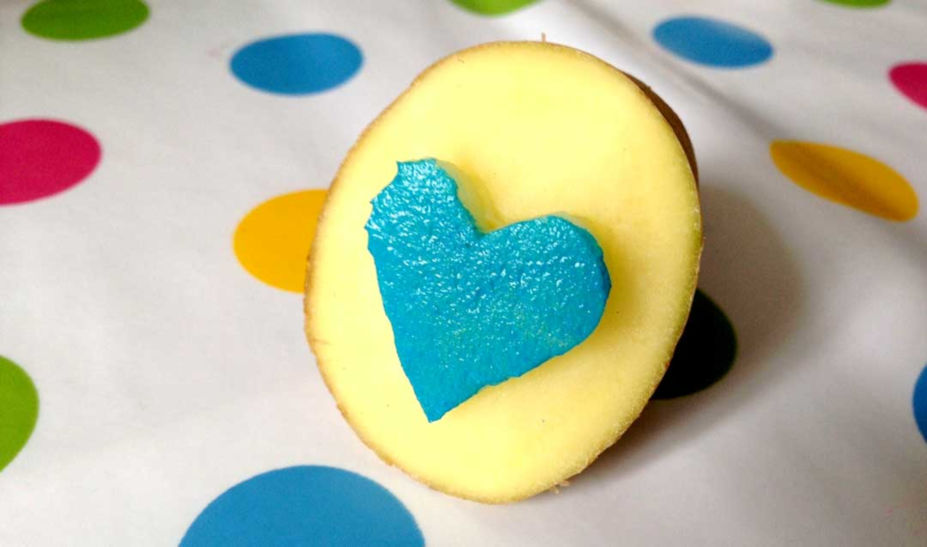 potatistryck hjärta